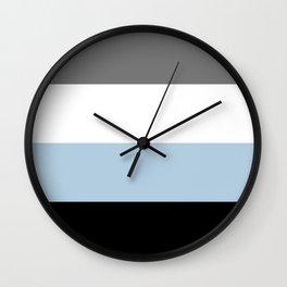 Black, white, gray and light blue stripes Wall Clock