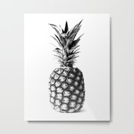 Pineapple Black and White Photograph Metal Print