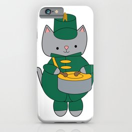 Cat Marching Band Drum Green Yellow iPhone Case
