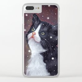 Tuxedo Cat Looking Up at Snowflakes Clear iPhone Case