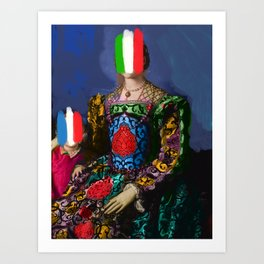 French Italian Pop Remix of Classical Painting of Bronzino Art Print