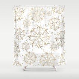 Elegant hand painted gold floral mandala Shower Curtain