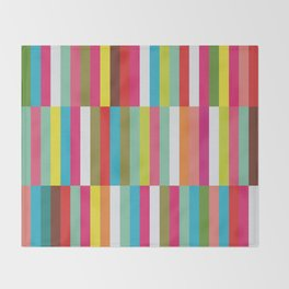 Bright Colorful Stripes Pattern - Pink, Green, Summer Spring Abstract Design by Throw Blanket