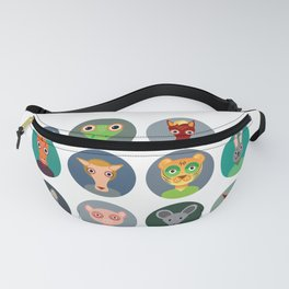 Chinese zodiac collection, Set of animals faces circle icons in Trendy Flat Style Fanny Pack