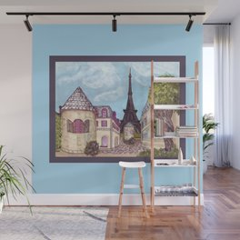 Paris Eiffel Tower inspired landscape painting by Kristie Hubler Wall Mural