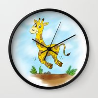chad wys Wall Clocks featuring Chad the Prancing Giraffe  by Nuanc3d