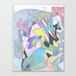 Abstract Color Doodle Canvas Print