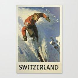 Vintage Travel Poster - Switzerland Skiing - Vintage Travel Sports Poster Canvas Print