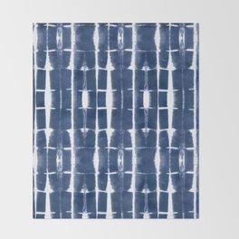 Shibori Stripes 3 Indigo Blue Throw Blanket
