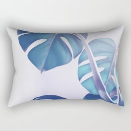 Blue Shadows Monstera Leaves Rectangular Pillow