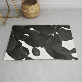Cactus in Black And White Rug