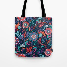 Ripe autumn – cyan and red Tote Bag
