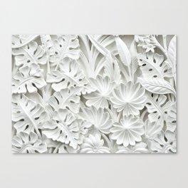 White leaf, plants background Canvas Print