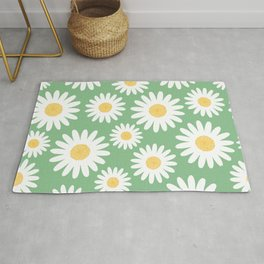 Big spring white daisies on green pattern Rug