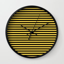 Even Horizontal Stripes, Yellow and Black, S Wall Clock