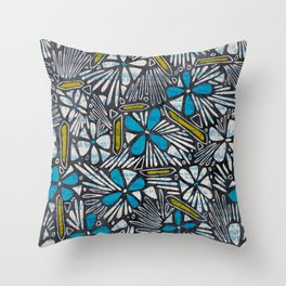 Asha Floral - Blue Throw Pillow