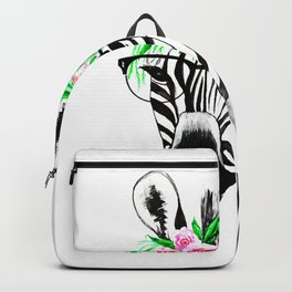Zebra with glasses and flowers Backpack