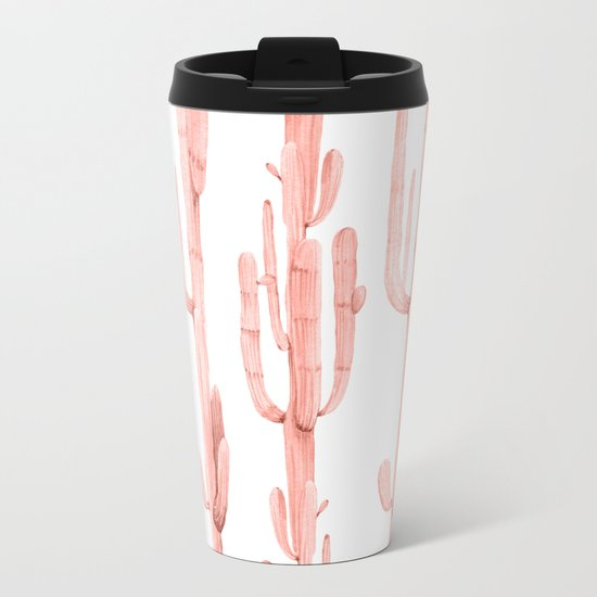 Pretty Coral Pink Cactus Pattern Metal Travel Mug