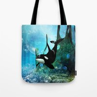 orca Tote Bags featuring Orca by nicky2342