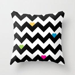Heart & Chevron - Black/Multi Throw Pillow