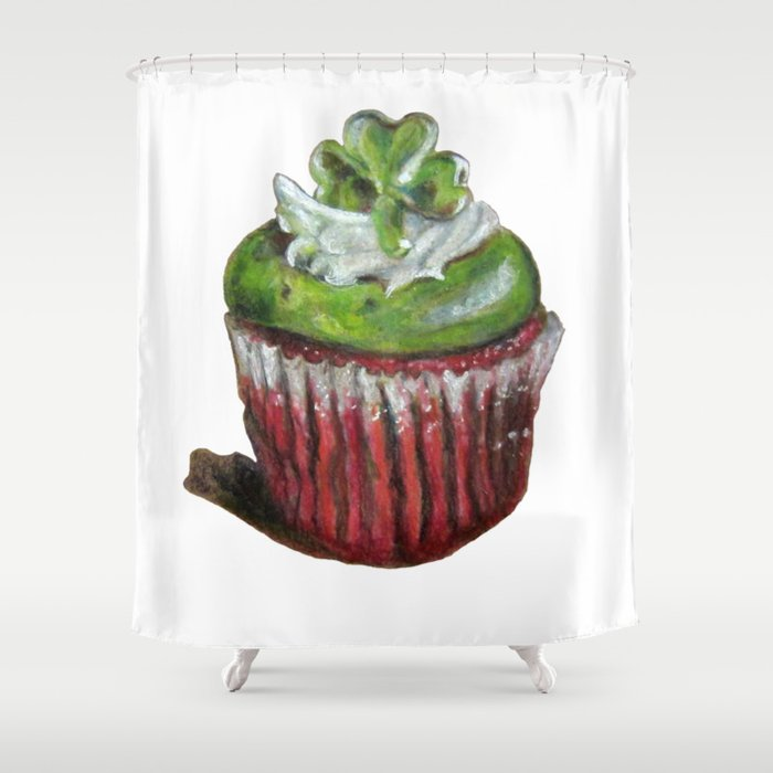St. Patrick\'s Day Cupcake with Shamrock Shower Curtain by ...
