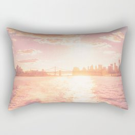 New York City Skyline Sunset Rectangular Pillow