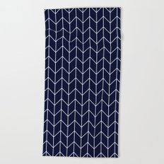 Chevron pattern -  white on darkblue Beach Towel
