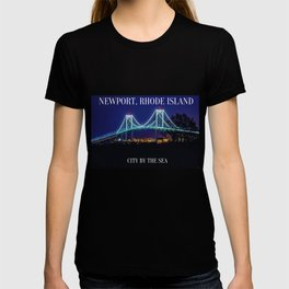 Newport Bridge, City Lights, Newport, Rhode Island landscape painting by Jeanpaul Ferro T-shirt