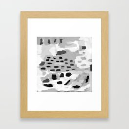 Turan - Black and white grey abstract painting modern home decor minimalist neutral trendy dorm Framed Art Print