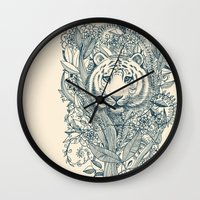 tiger Wall Clocks featuring Tiger Tangle by micklyn