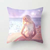 daenerys Throw Pillows featuring Contemplate by SuzanneCarter