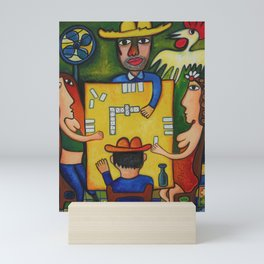 The Domino Players (Juego de Domino), Plaza Dolores, Santiago de Cuba, oil on canvas, by José Rodríguez Fuster Mini Art Print