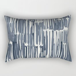 Simply Bamboo Brushstroke Indigo Blue on Lunar Gray Rectangular Pillow