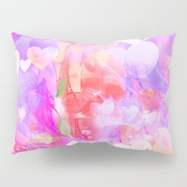 Abstract bright pink white watercolor hearts pattern Pillow Sham