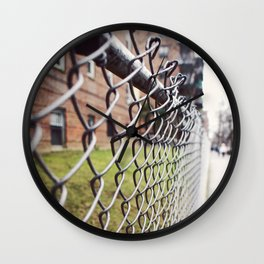 The Fences on a Rainy Day in New York City Wall Clock