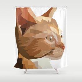 Geometric Kitten Digitally Crafted Shower Curtain