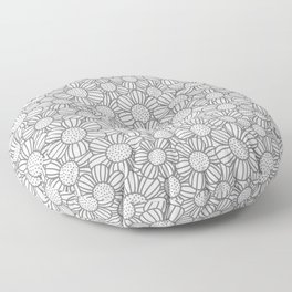Field of daisies - gray Floor Pillow