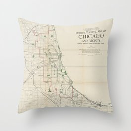 Vintage Map of The Chicago Railroads Throw Pillow