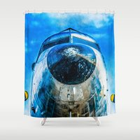 dc Shower Curtains featuring Douglas DC-3 Aircraft by digital2real