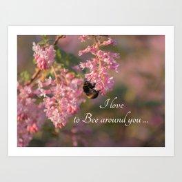Nature bee on pink flowers Art Print