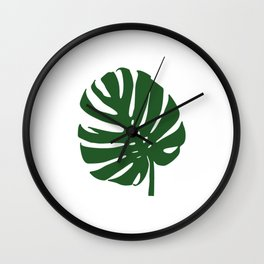 monstera in forest green Wall Clock