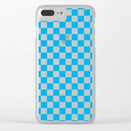 Blue Checkerboard Pattern Clear iPhone Case