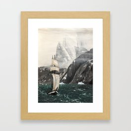Ship In Cold Sea Framed Art Print