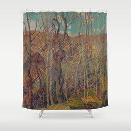 Canadian Landscape Oil Painting Franklin Carmichael Art Nouveau Post-Impressionism Silvery Tangle Shower Curtain