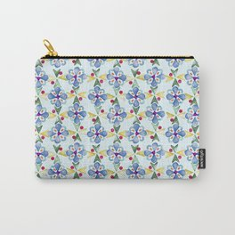 Spring Flower Rubber Stamp Pattern Design (Light Mint Green Background) Carry-All Pouch