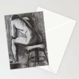 Charcoal study of a man's back Stationery Cards