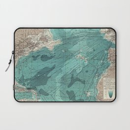 Vintage Green Transatlantic Mapping Laptop Sleeve