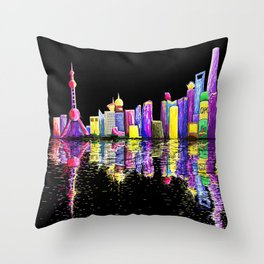 Shanghai Bund Skyline digital Throw Pillow