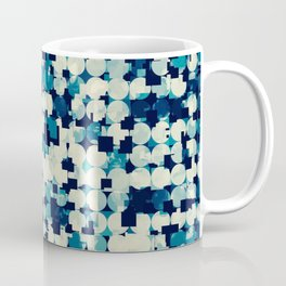 geometric square and circle pattern abstract in blue green Coffee Mug