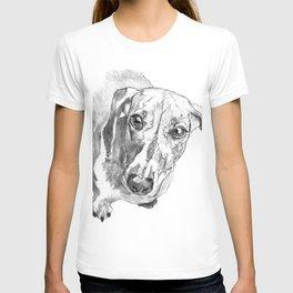 Dachshund Portrait in Black and White T-shirt